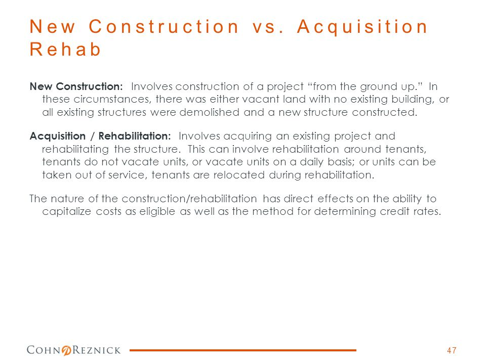New Construction vs. Acquisition Rehab