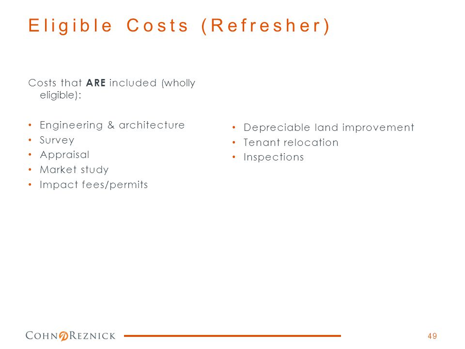 Eligible Costs (Refresher)