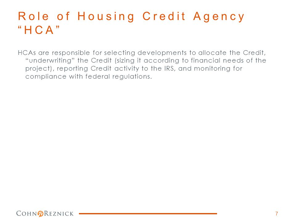 Role of Housing Credit Agency HCA
