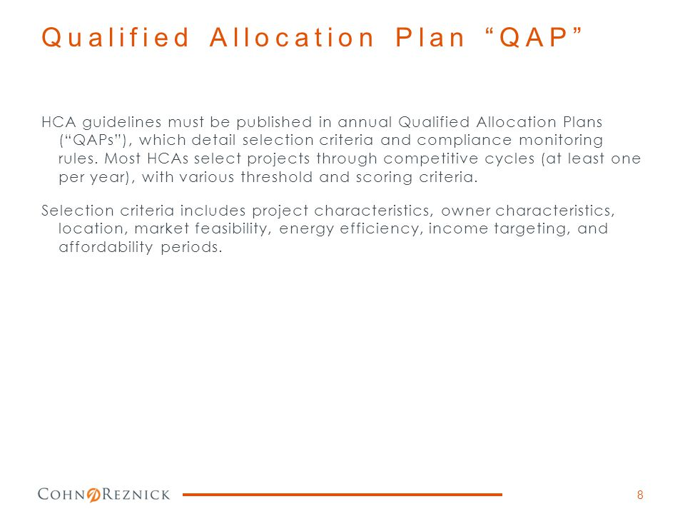 Qualified Allocation Plan QAP