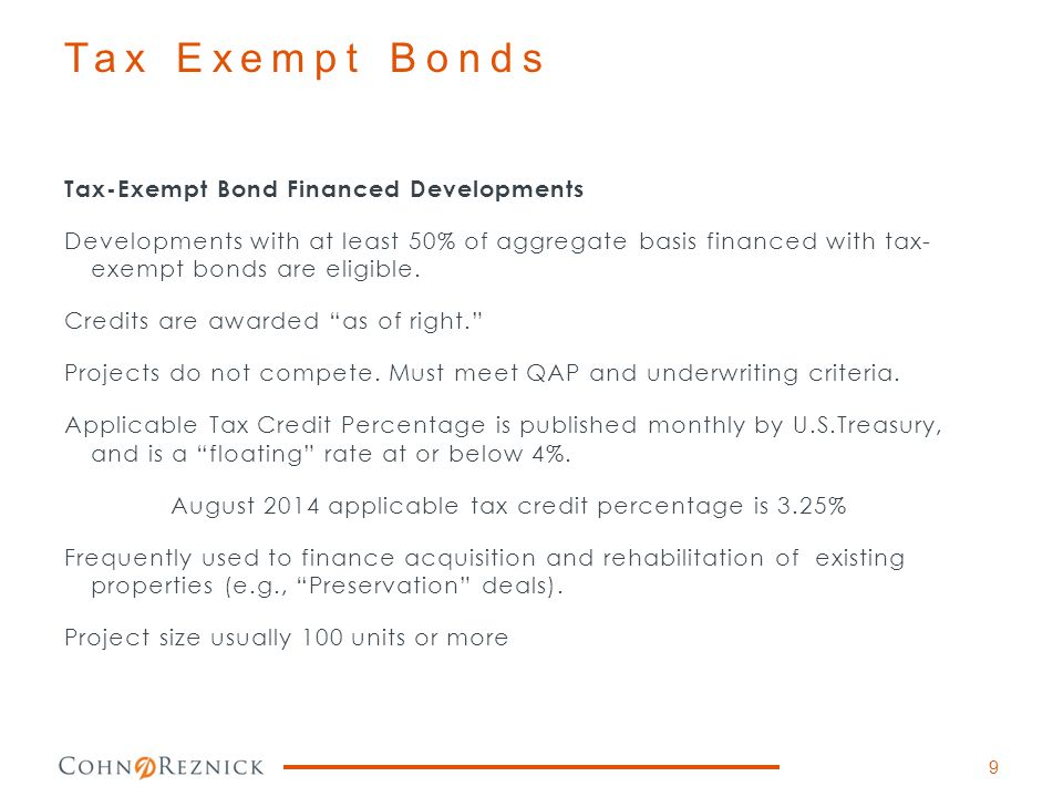 Tax Exempt Bonds Tax-Exempt Bond Financed Developments