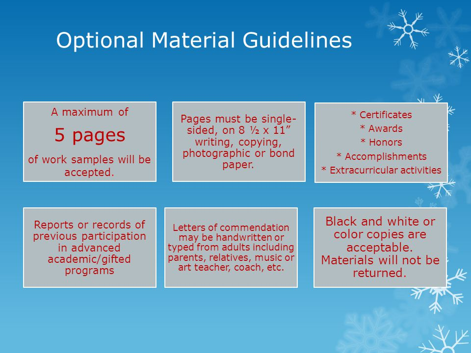 Optional Material Guidelines