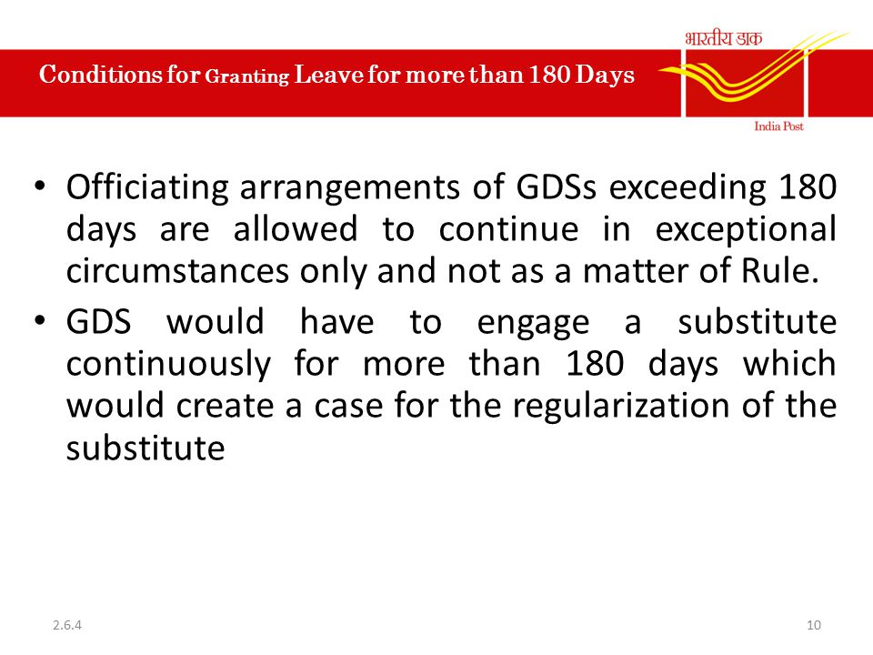Conditions for Granting Leave for more than 180 Days