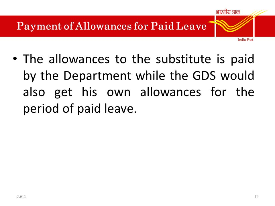 Payment of Allowances for Paid Leave