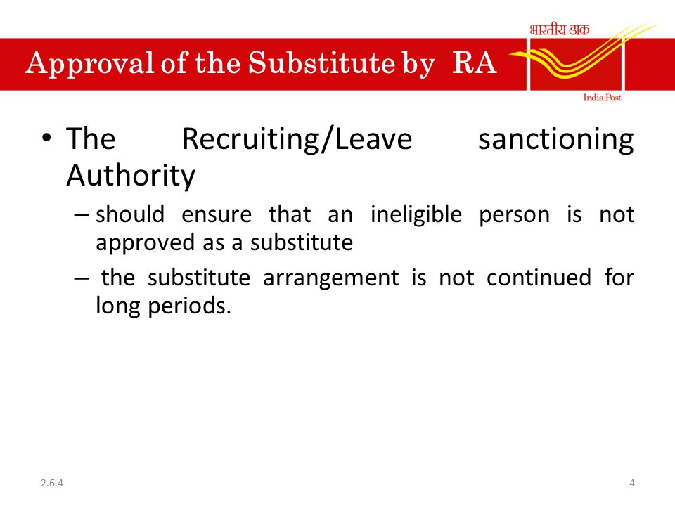 Approval of the Substitute by RA