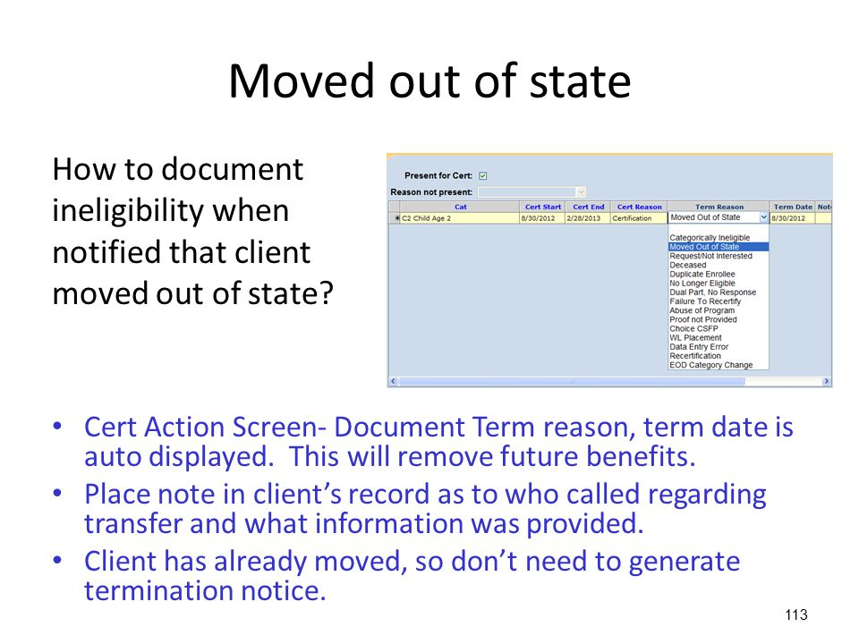 Moved out of state How to document ineligibility when
