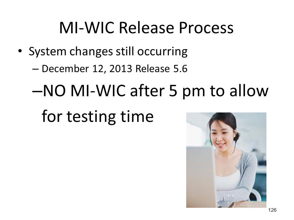 MI-WIC Release Process