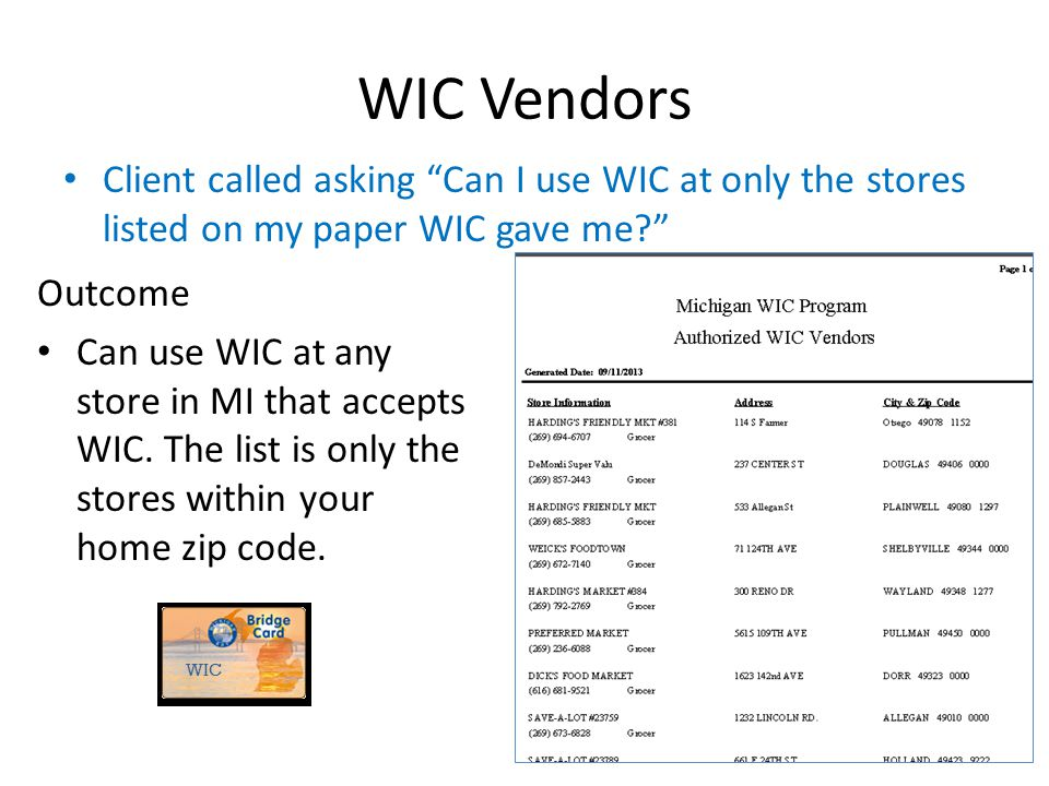 2013 WIC Income Webcast WIC Vendors. Client called asking Can I use WIC at only the stores listed on my paper WIC gave me