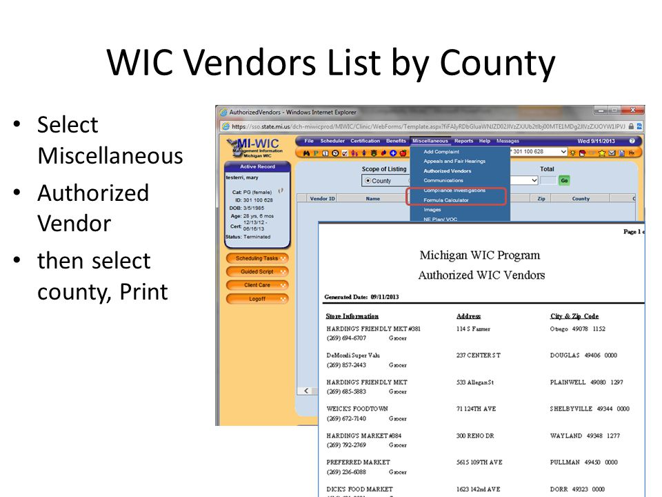WIC Vendors List by County
