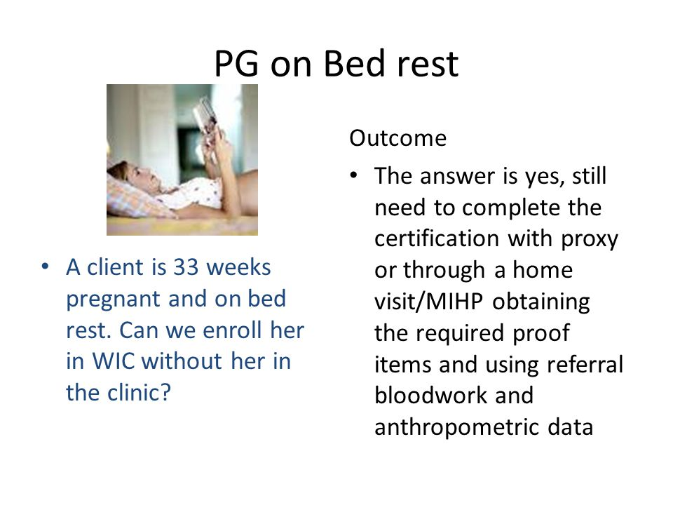 PG on Bed rest Outcome.