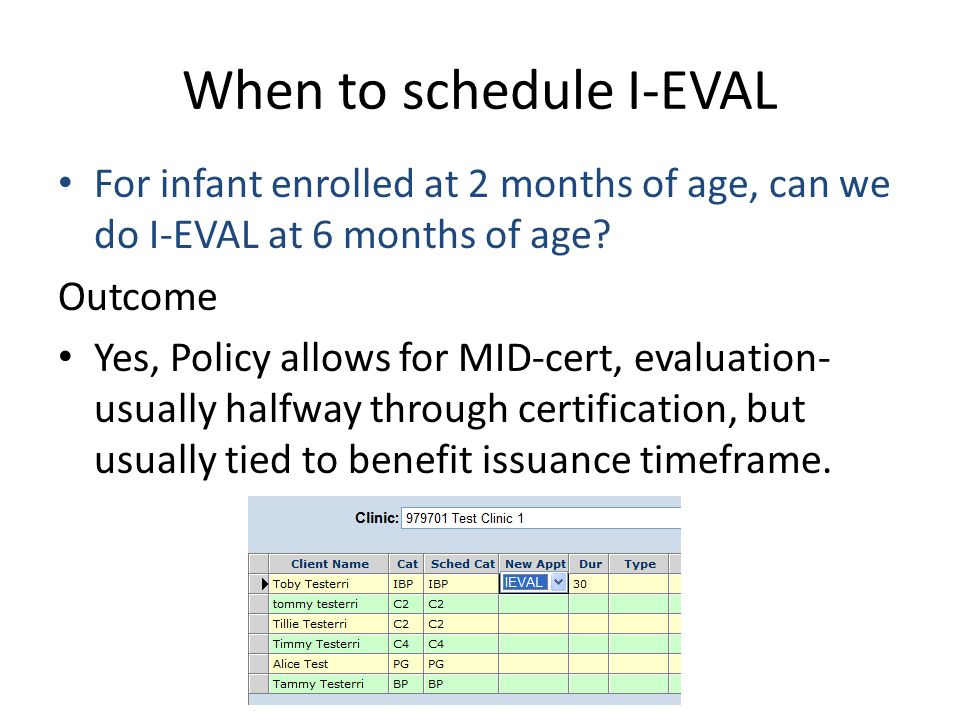 When to schedule I-EVAL