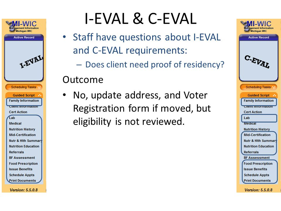 2013 WIC Income Webcast I-EVAL & C-EVAL. Staff have questions about I-EVAL and C-EVAL requirements: