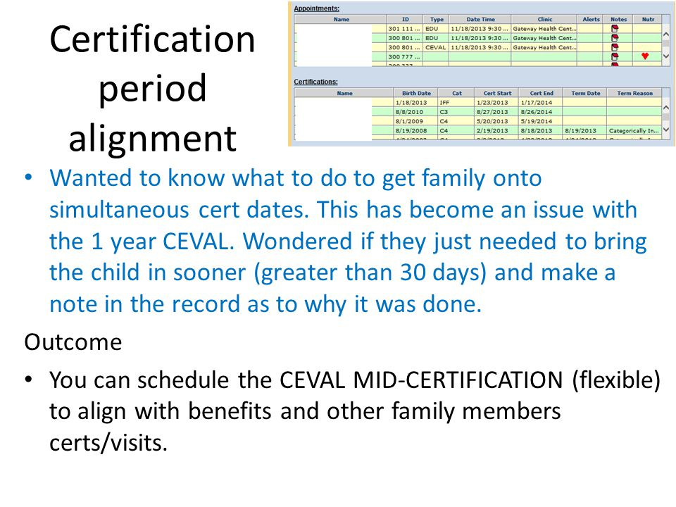 Certification period alignment