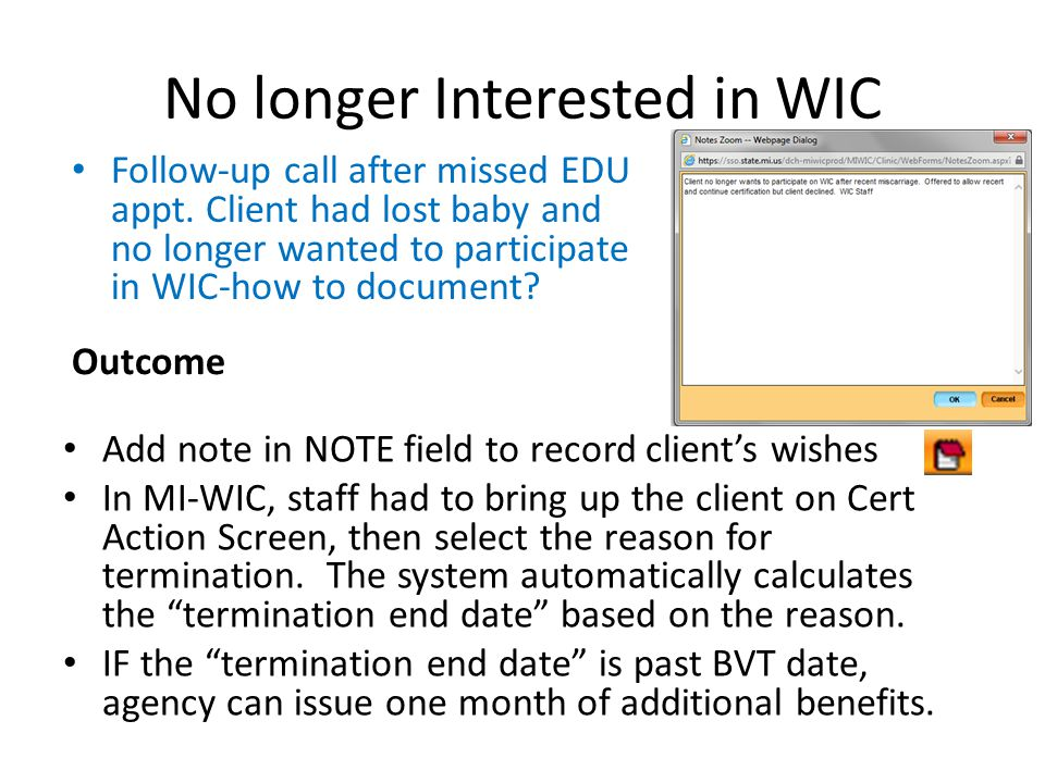 No longer Interested in WIC