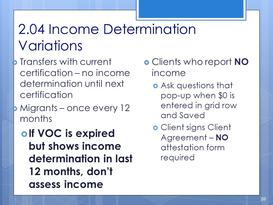 2.04 Income Determination Variations
