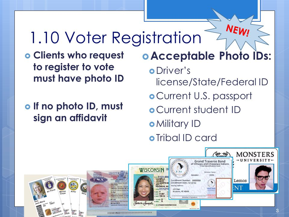 1.10 Voter Registration Acceptable Photo IDs: NEW!