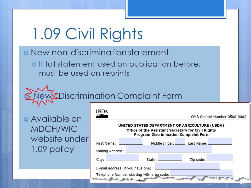 1.09 Civil Rights New non-discrimination statement