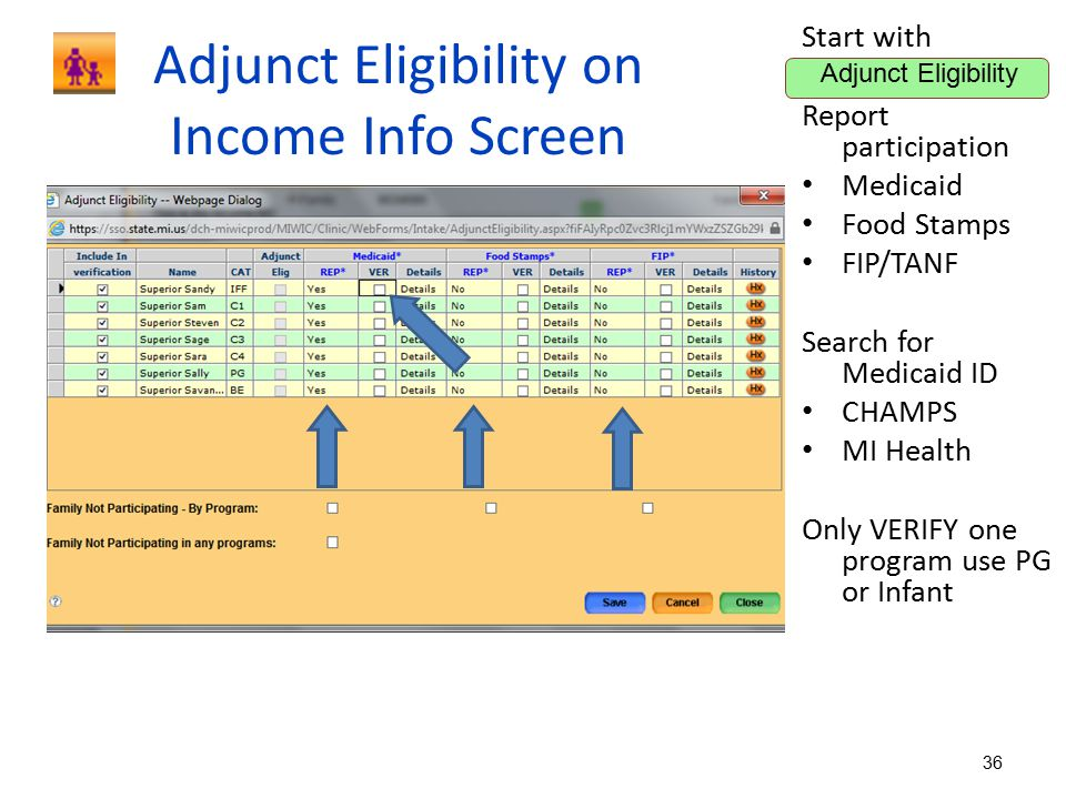 Adjunct Eligibility on Income Info Screen