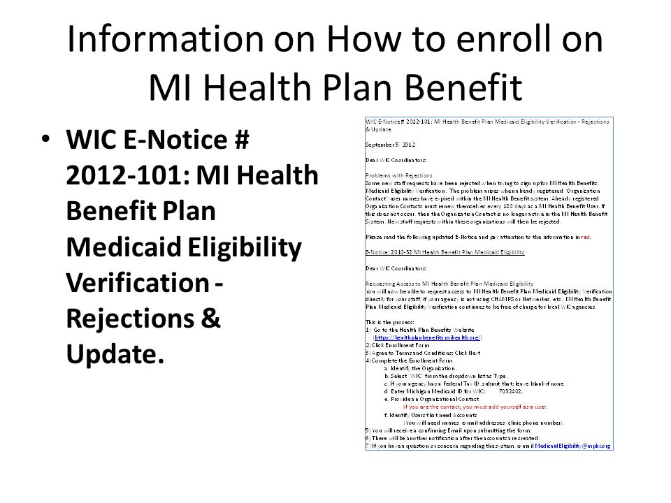 Information on How to enroll on MI Health Plan Benefit