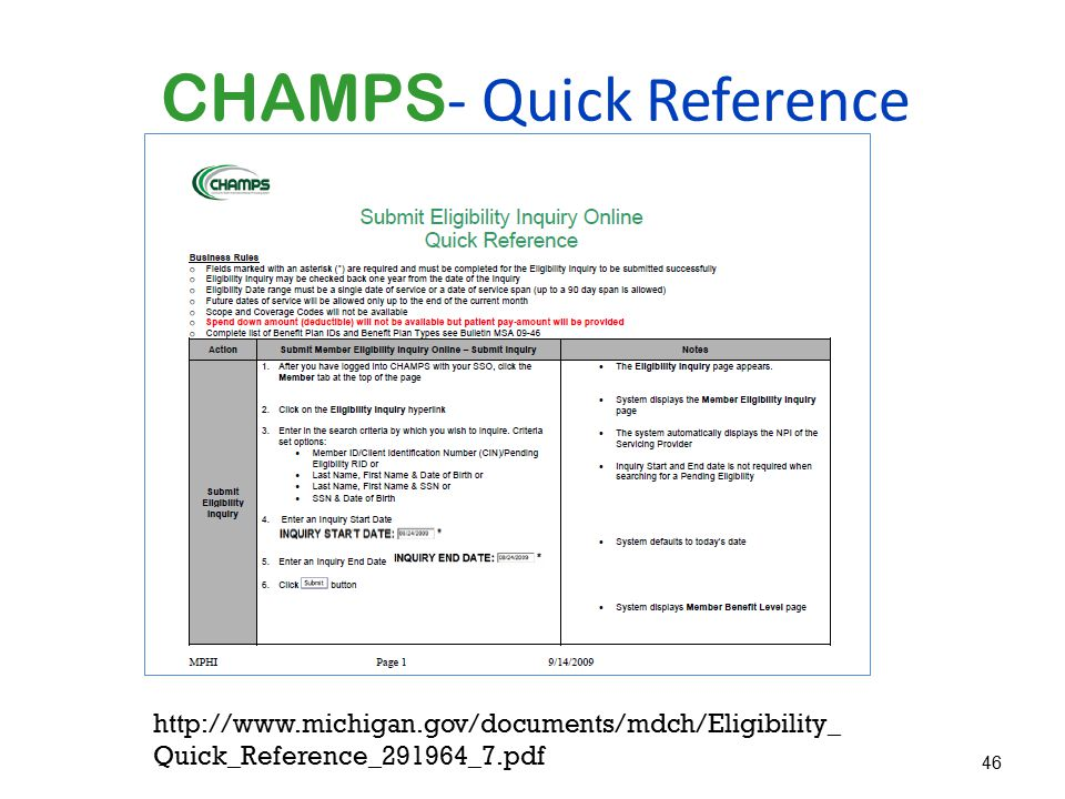 CHAMPS- Quick Reference