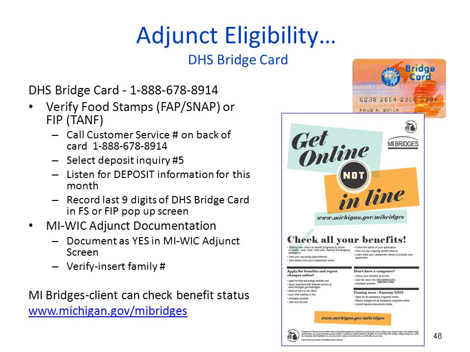 Adjunct Eligibility… DHS Bridge Card