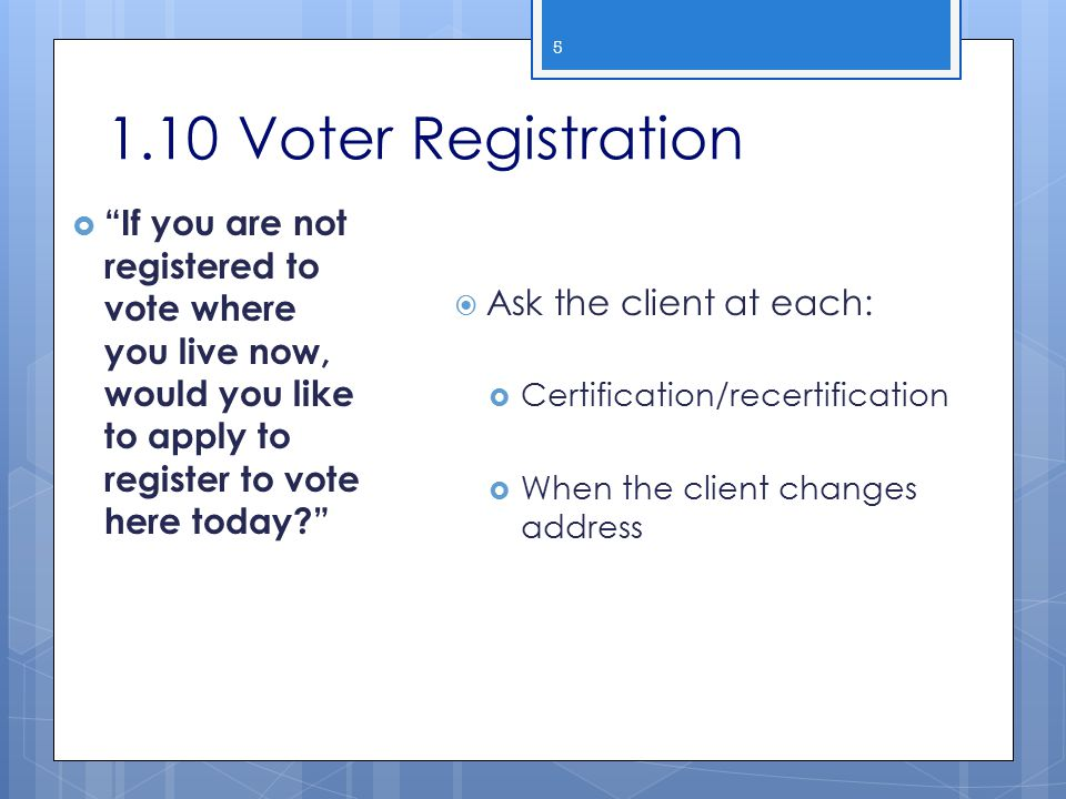 2013 WIC Income Webcast 1.10 Voter Registration.