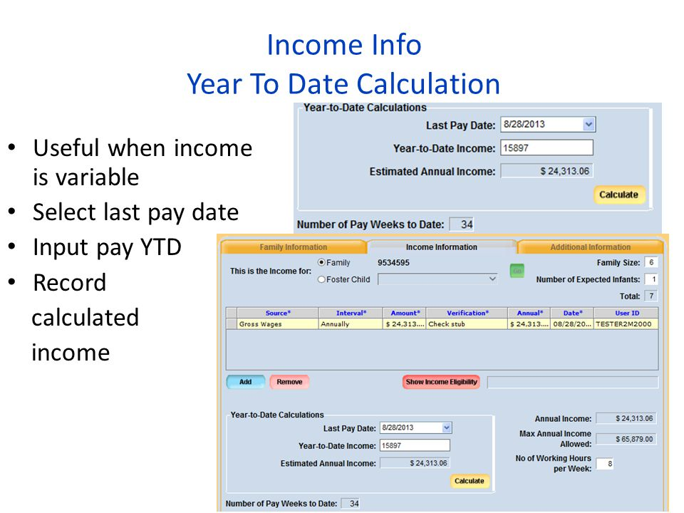 Income Info Year To Date Calculation