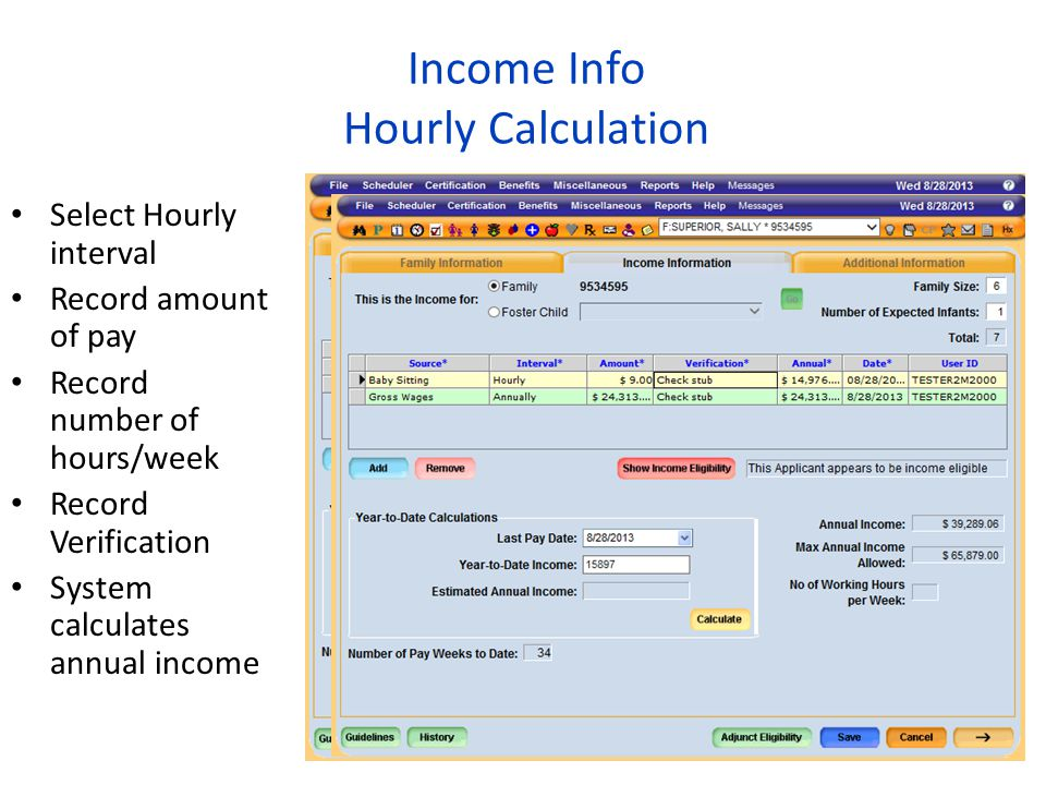 Income Info Hourly Calculation
