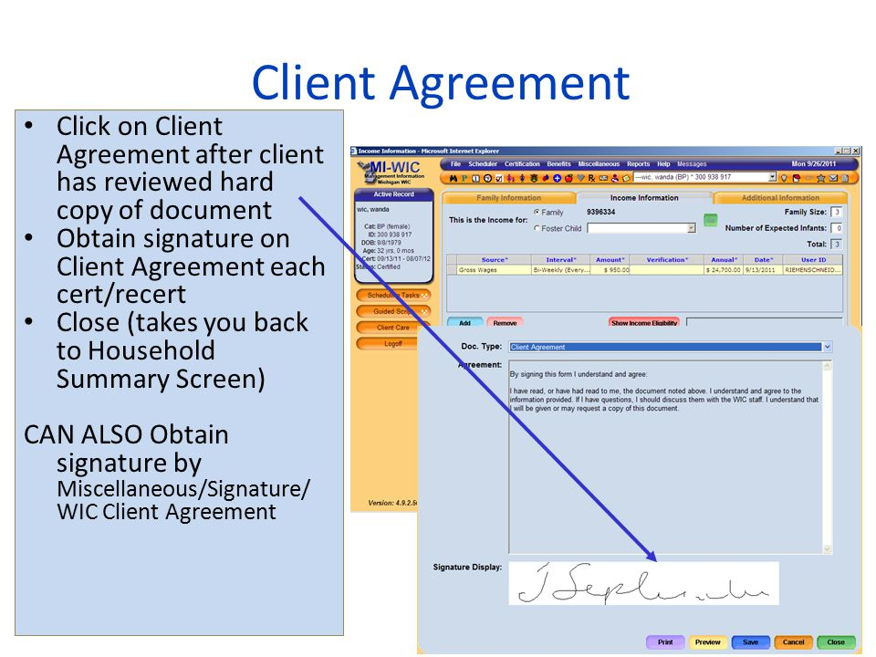 2013 WIC Income Webcast Client Agreement. Click on Client Agreement after client has reviewed hard copy of document.