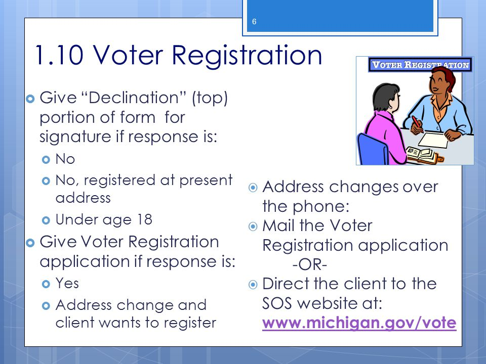 2013 WIC Income Webcast 1.10 Voter Registration. Give Declination (top) portion of form for signature if response is: