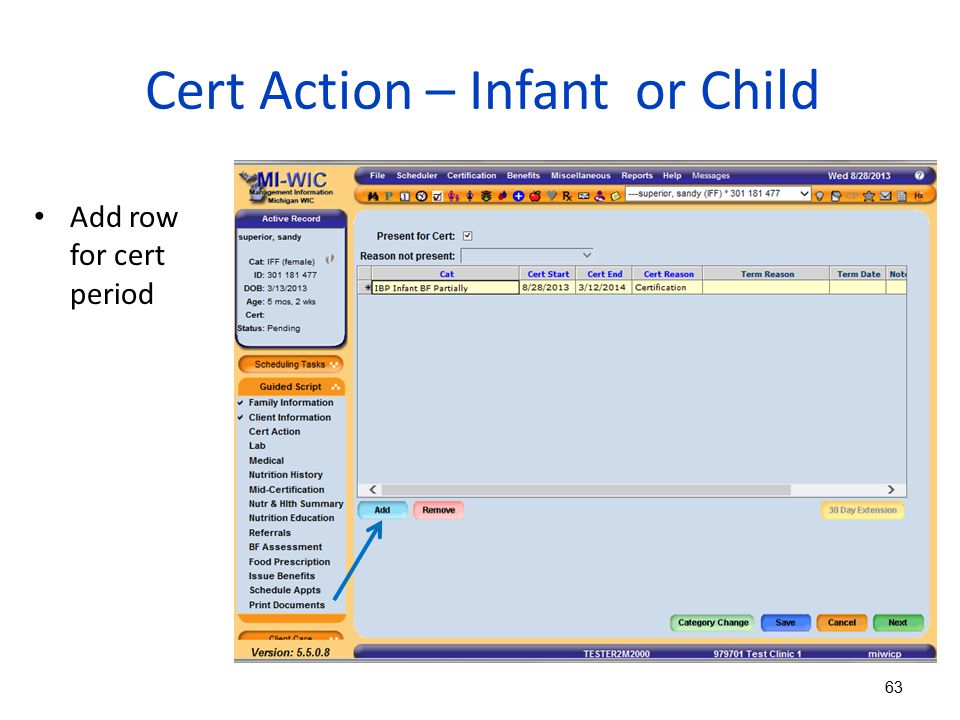 Cert Action – Infant or Child