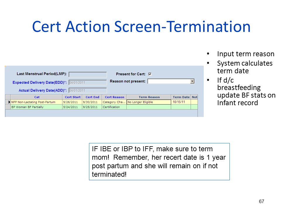 Cert Action Screen-Termination
