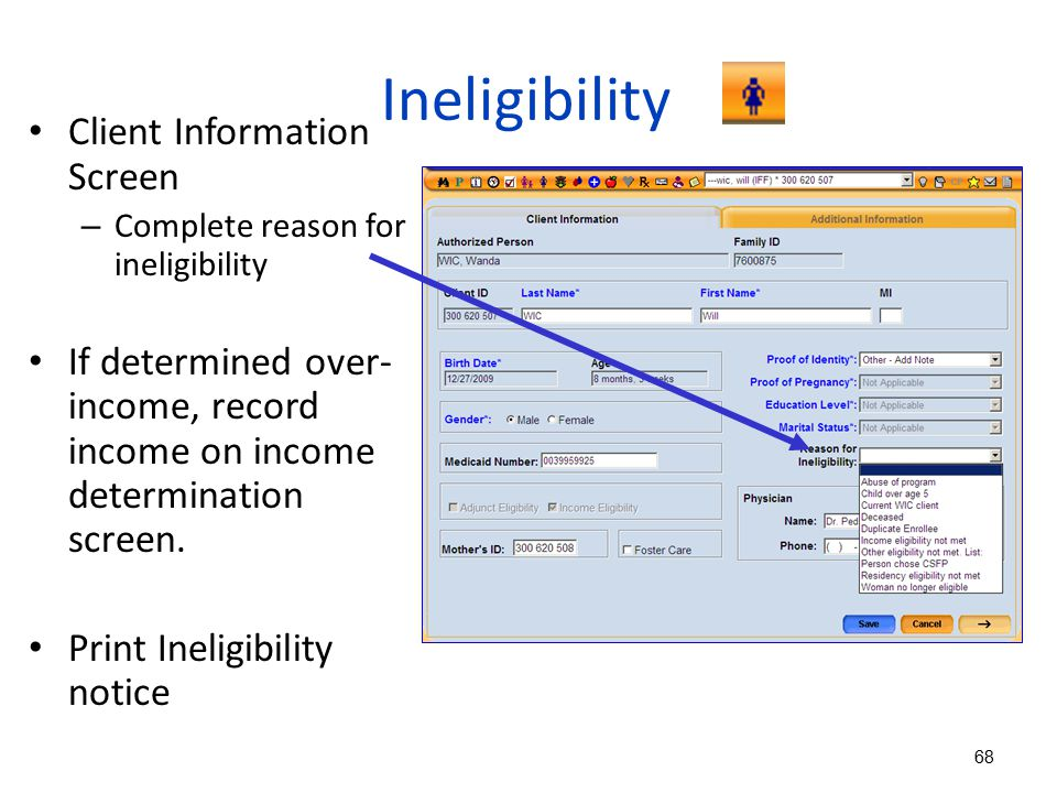 Ineligibility Client Information Screen