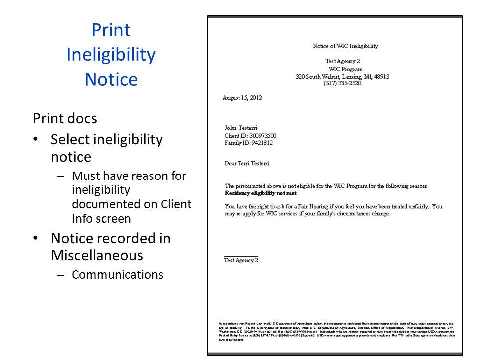 Print Ineligibility Notice
