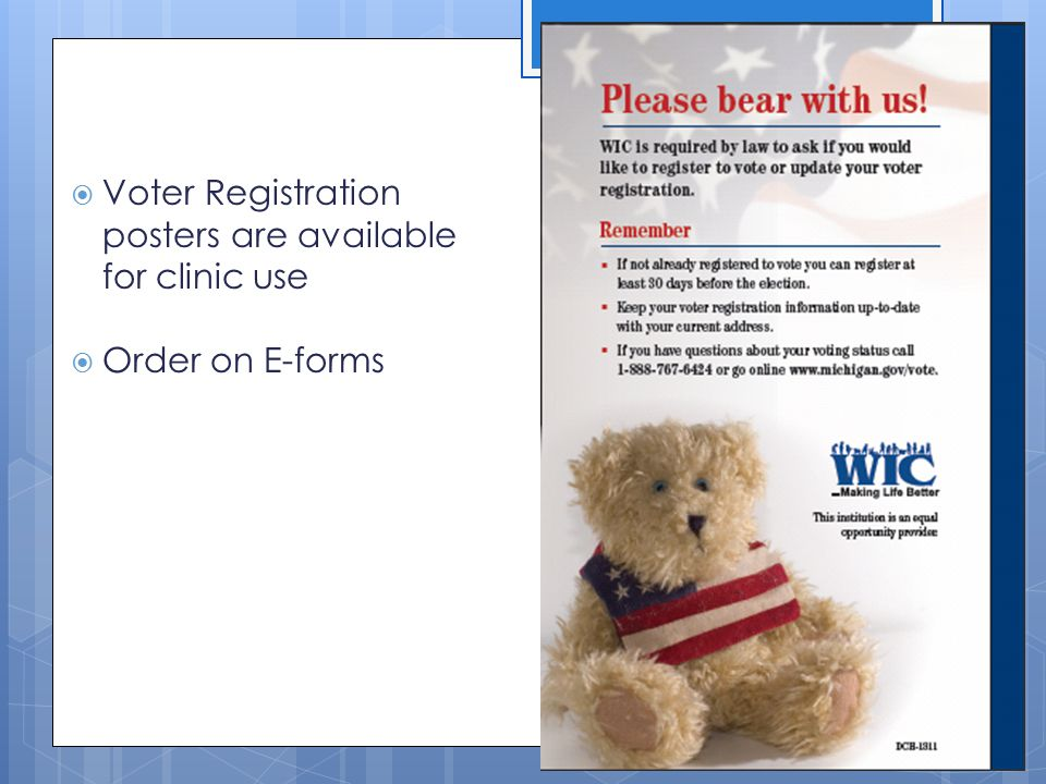 Voter Registration posters are available for clinic use