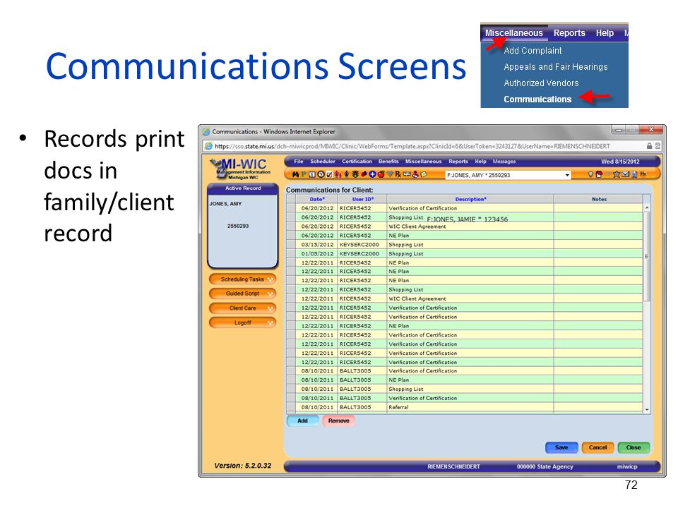 Communications Screens