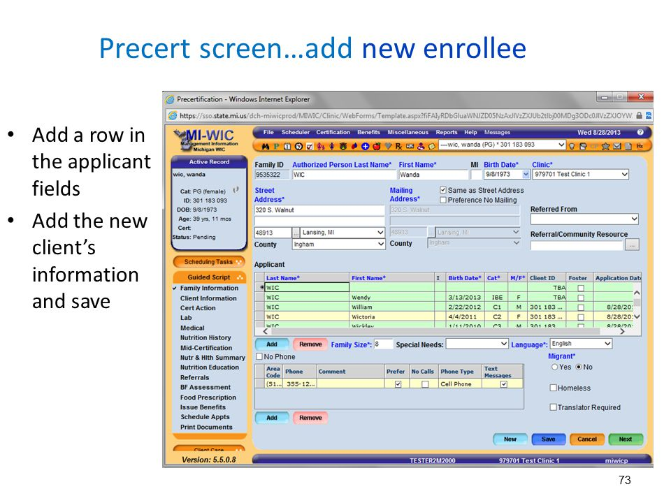 Precert screen…add new enrollee