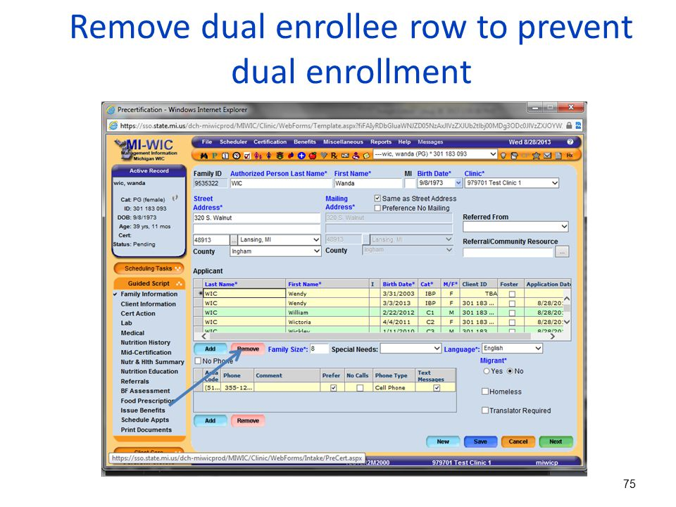 Remove dual enrollee row to prevent dual enrollment