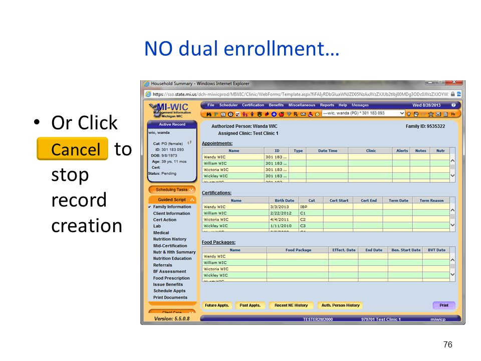 NO dual enrollment… Or Click Cancel to stop record creation