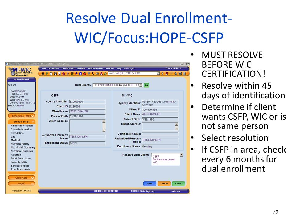 Resolve Dual Enrollment-WIC/Focus:HOPE-CSFP