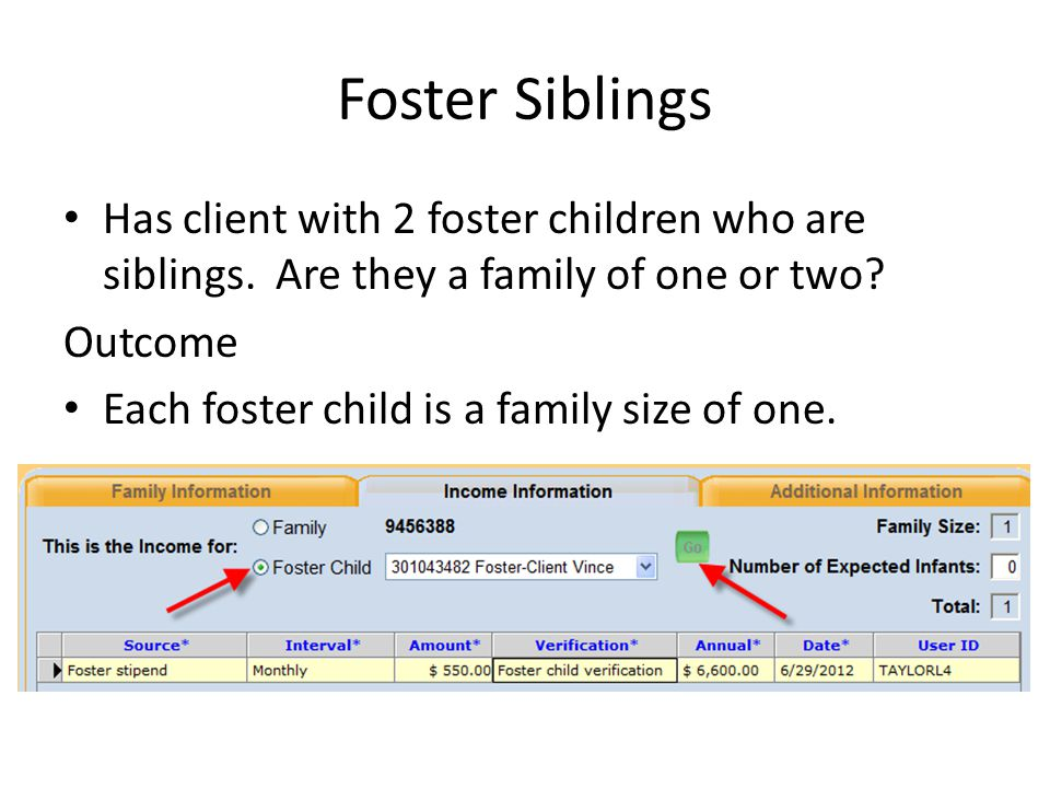 Foster Siblings Has client with 2 foster children who are siblings. Are they a family of one or two