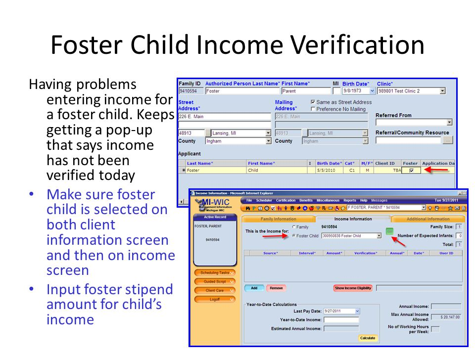 Foster Child Income Verification