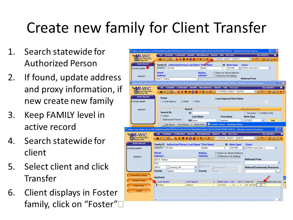 Create new family for Client Transfer
