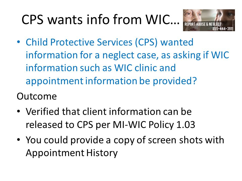 CPS wants info from WIC…