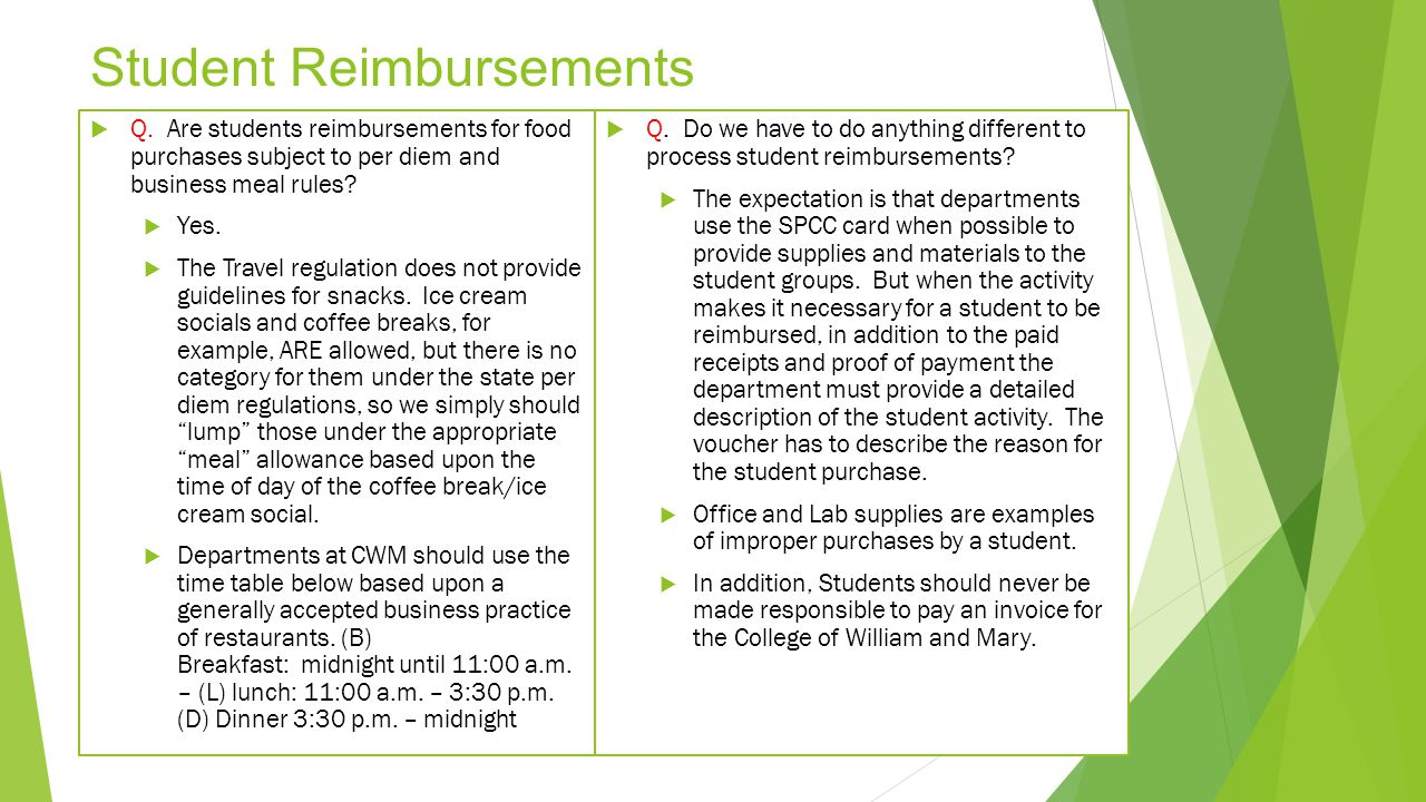 Student Reimbursements