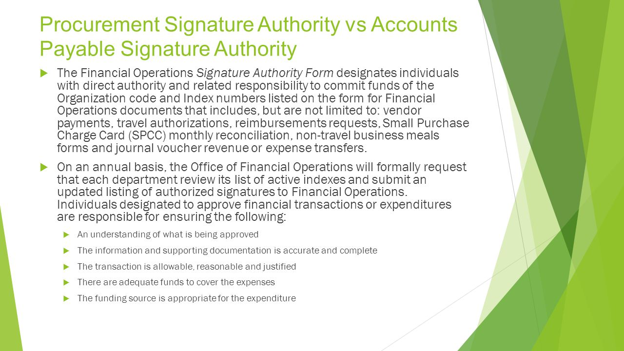 Procurement Signature Authority vs Accounts Payable Signature Authority