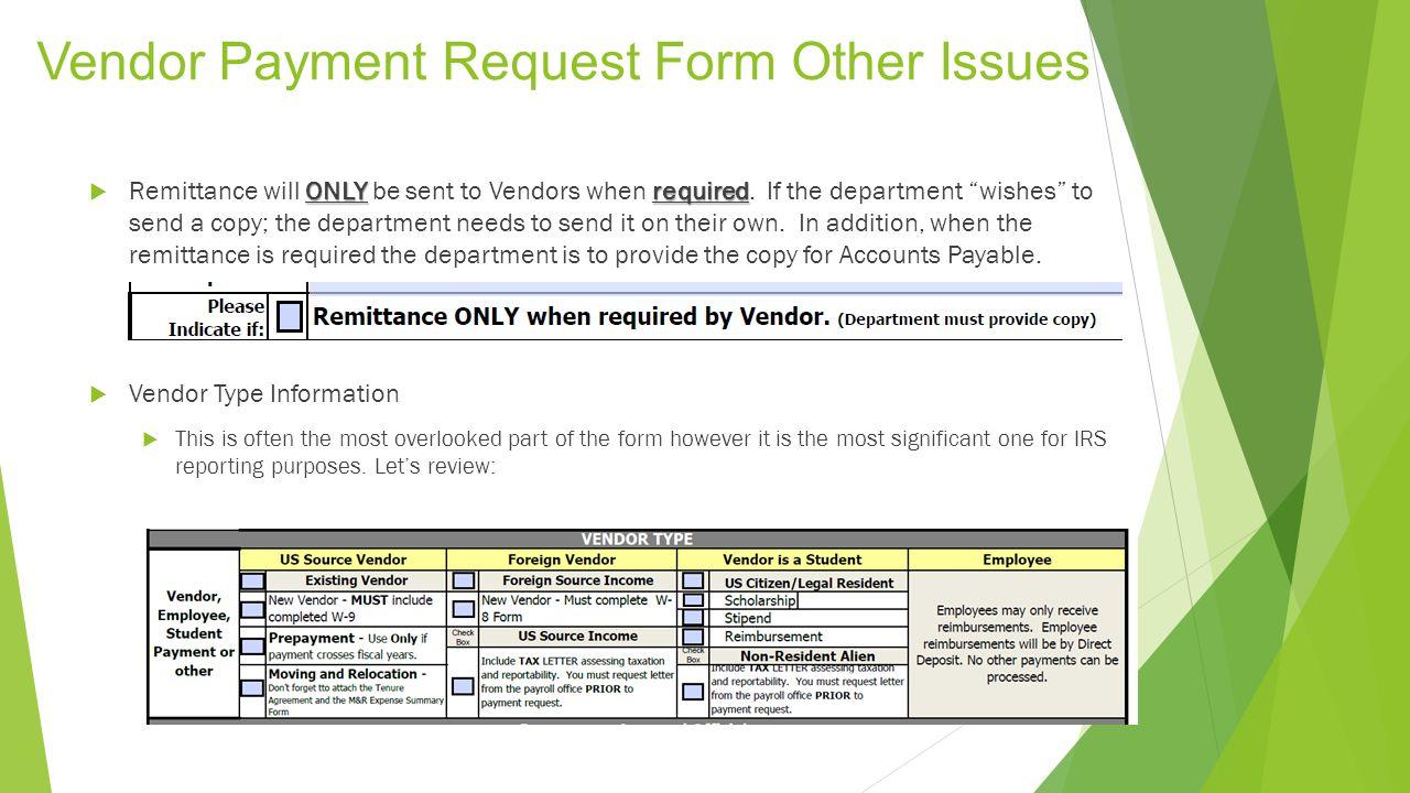 Vendor Payment Request Form Keyword Data - Related Vendor Payment