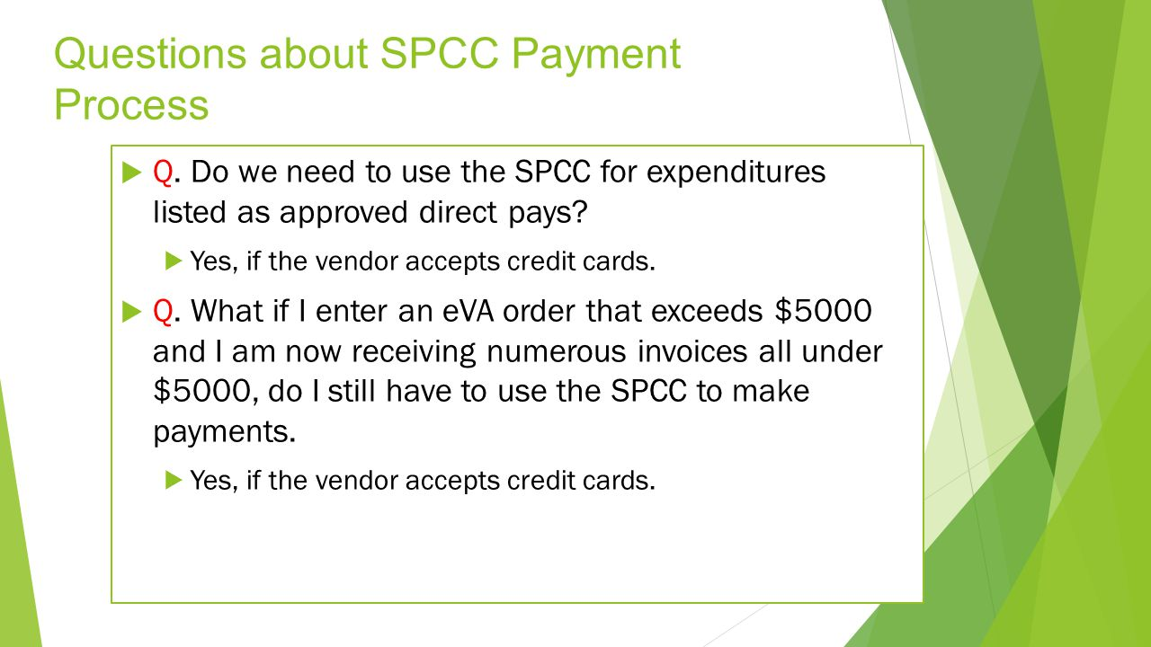 Questions about SPCC Payment Process