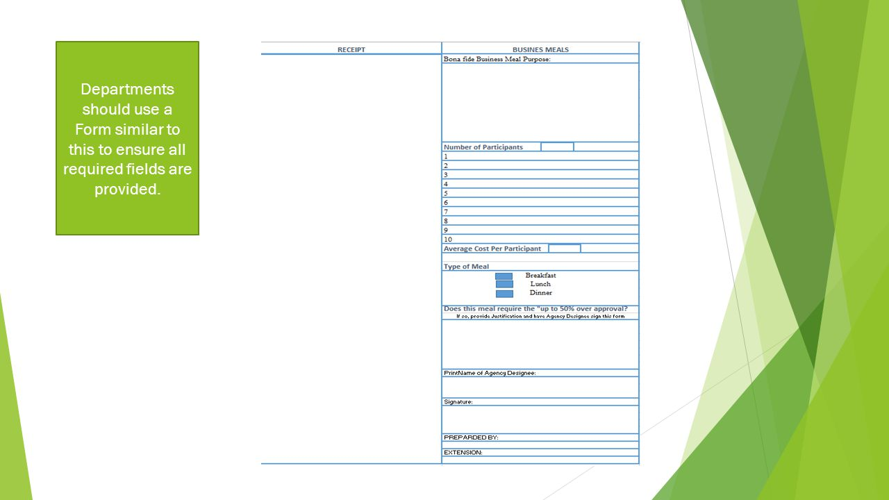 Departments should use a Form similar to this to ensure all required fields are provided.