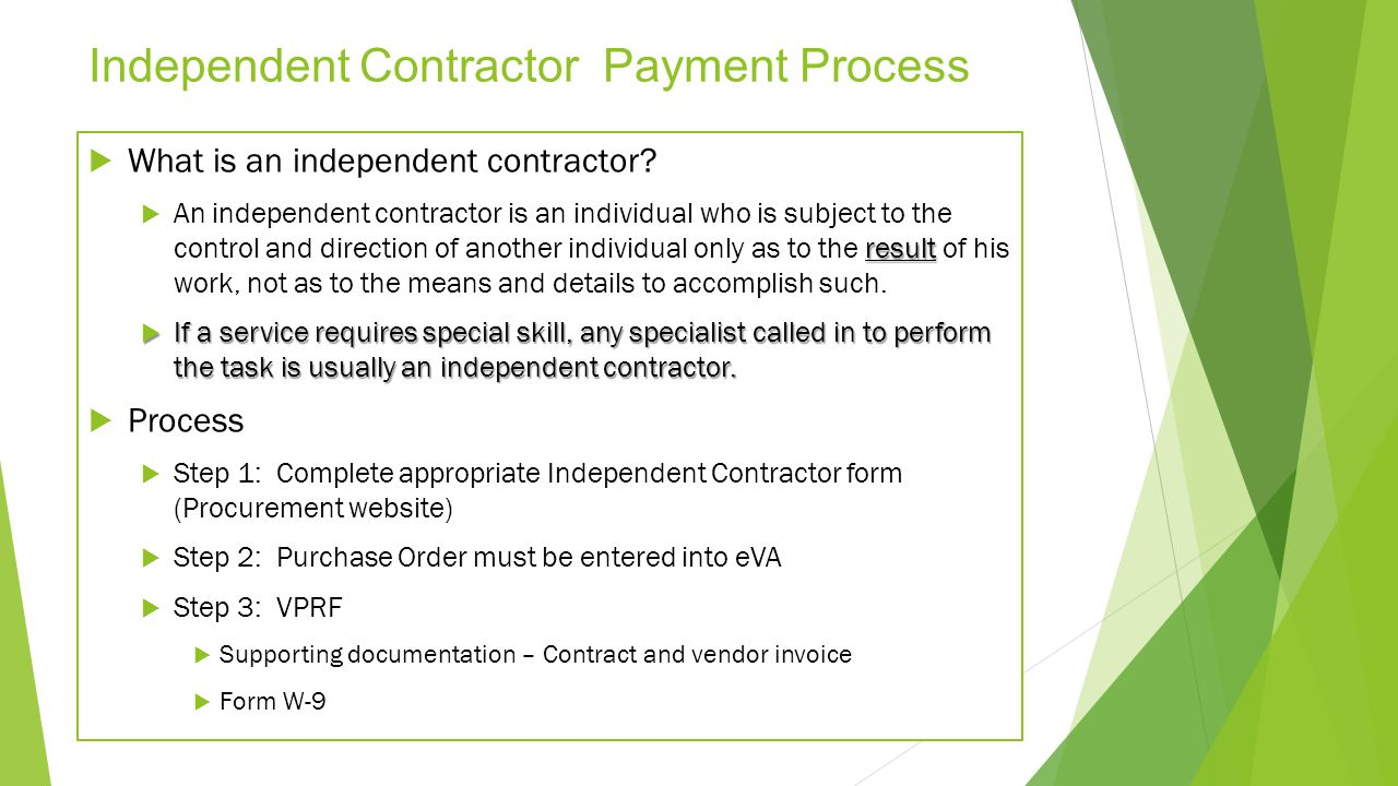 Independent Contractor Payment Process
